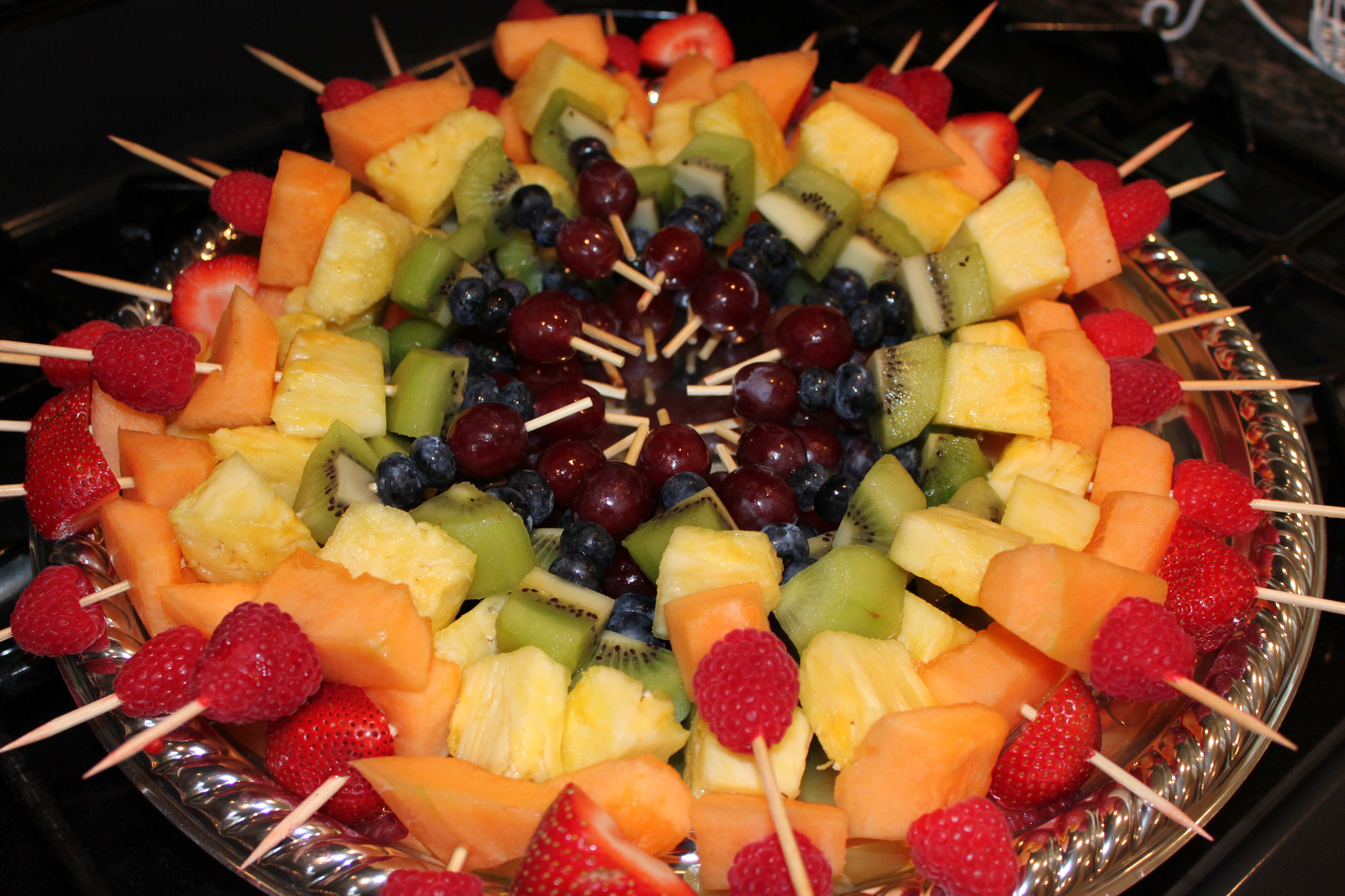 Fruit Kabobs Display Cut up your fruit and assemble