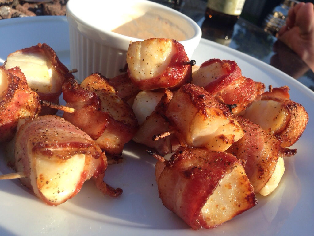 Bacon-Wrapped Scallops With Spicy-Cilantro Mayonnaise Recipes ...
